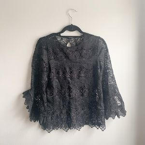 Kobi Halperin Black Lone Sleeve Lace Top